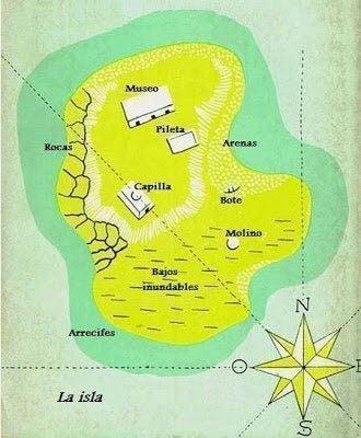 Kart over øya i Morels oppfinnelse