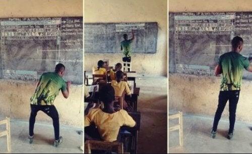 Holdning og inspirasjon: Den ghanesiske læreren underviser i IT med kritt og tavle