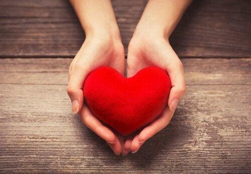 To hender holder frem et hjerte av tekstil