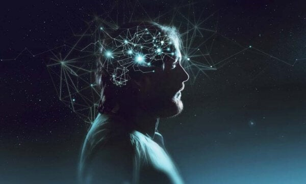 Mann i en tilstand av optimal opplevelse og flyt, med lys som skinner i hans sinn.