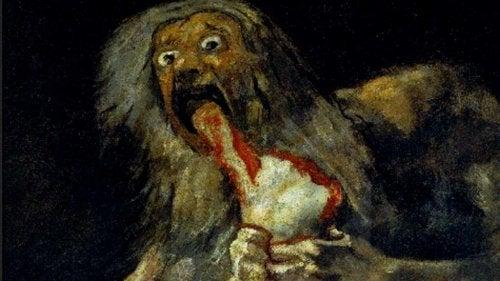 Et monster med blod som kommer ut av munnen.