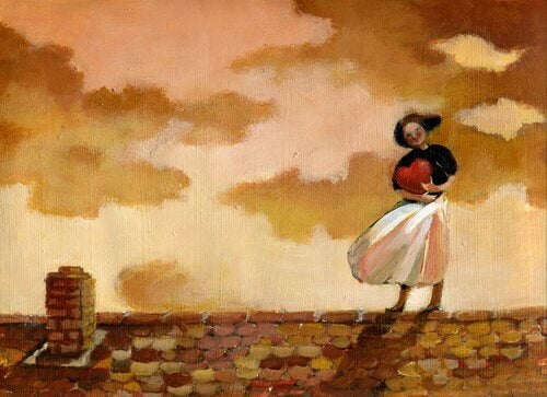 Kvinne med et hjerte på taket