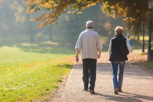 Vi ser ryggen til et eldre par som er ute og går i en park