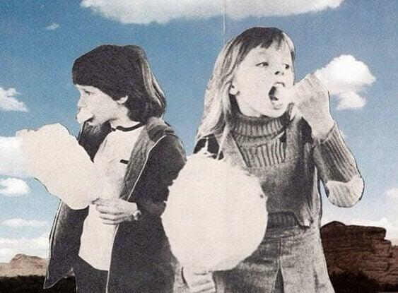 Barn spiser sukkerspinn, som symboliserer en av handlingene som er skadelig for helsen din