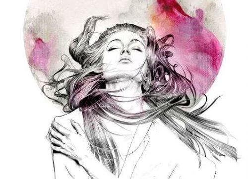 Kvinne omfavner seg selv