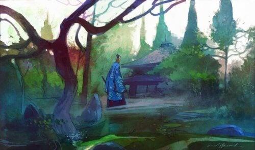 Akvarell-maling av en eldre mann som går mot et Zen-tempel