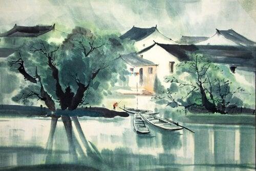 Akvarell-maling av hus som ligger ved en elv