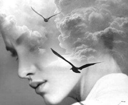 Kvinne ansikt med fugler