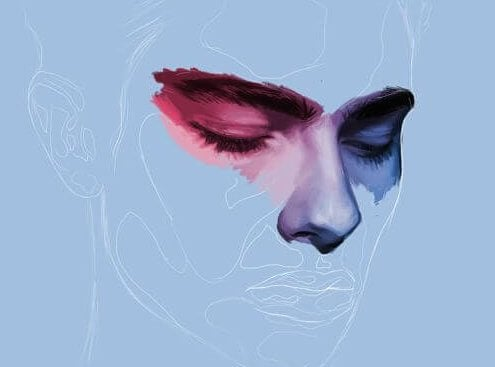 Tegning av et maskulin ansikt med malte øyne.