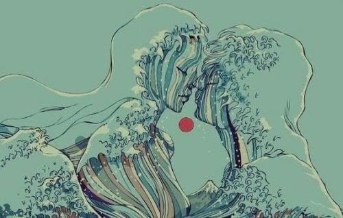 Bølger danner formen på to personer.