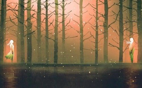 Et par i en skog.