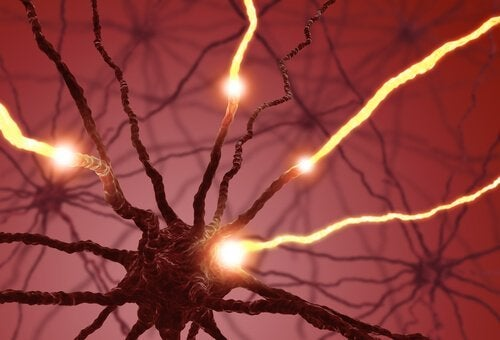 Elektriske impulser i nevroner.