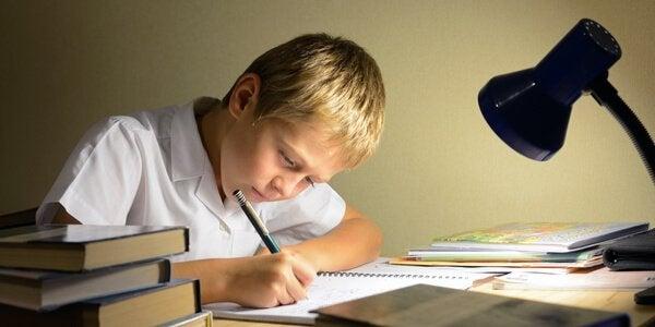 En gutt gjør leksene sine