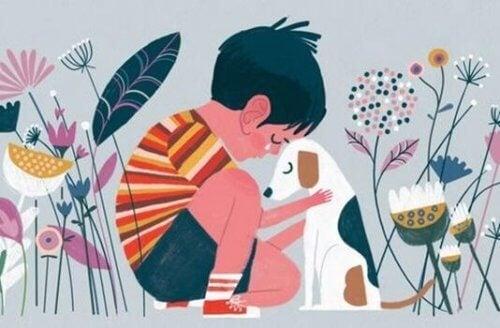Gutt med hund