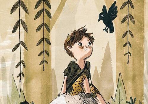 Gutt ser på kråke
