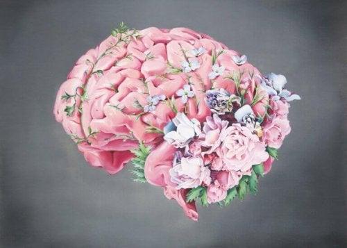 Hjerne med blomster