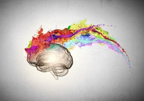 En kunstnerisk skildring av en optimists hjerne med fargerik eksplosjon
