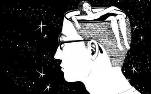 En kvinne som bader i en manns hode