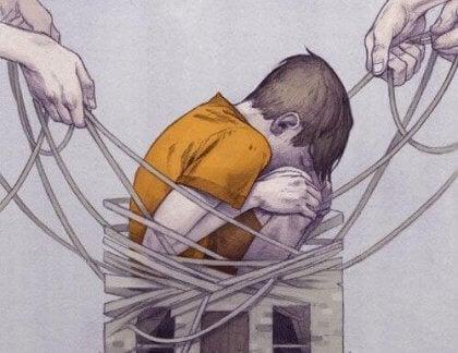 Trist barn på grunn av mobbing