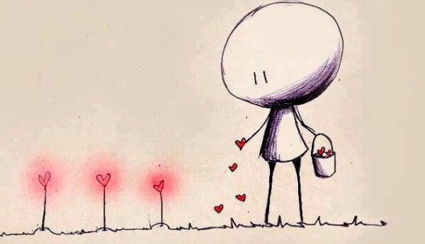 Strekfigur planter kjærlighet