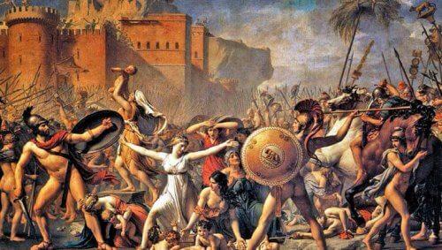 Et maleri av soldater som angriper kvinner.