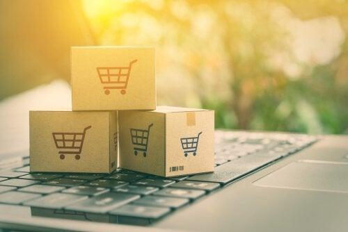 Bokser med handlekurver som psykologiske strategier brukt i markedsføring.