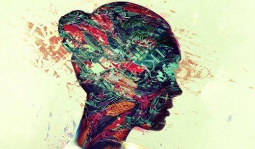 En kvinnes hodeprofil.