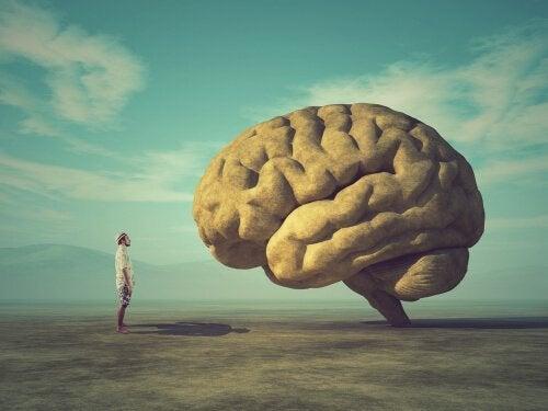 Mann som ser på en gigantisk hjerne