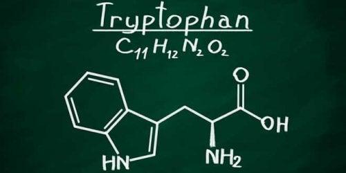 Kjemisk formel for tryptofan.