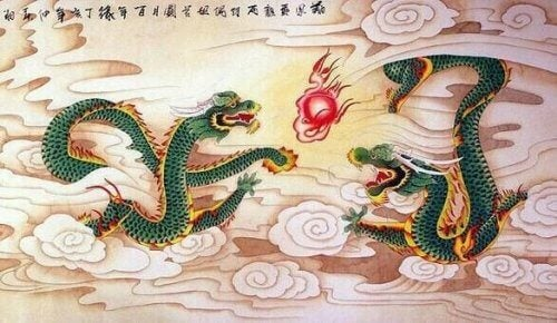 To grønne drager puster ild