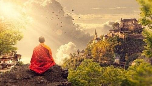 buddhistisk munk mediterer