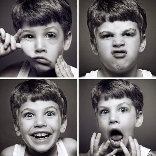 Forskjellige ansiktsuttrykk.