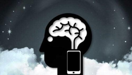 hjerne med mobiltelefon - fantomvibrering-syndrom