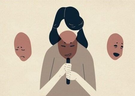 En kvinne med tre masker representerer Eysencks teori