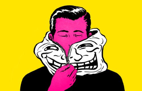 Mann og maske.