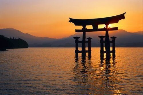 Solnedgang i Japan.