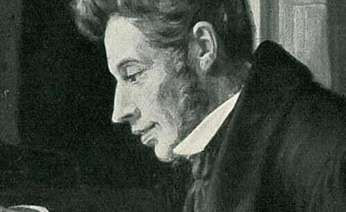 En tenkende Søren Kirkegaard.