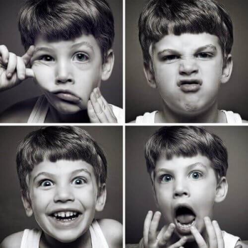 Gutt med forskjellige uttrykk.
