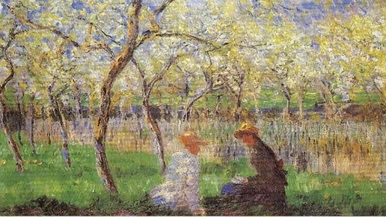 Et Manet-maleri med to kvinne som sitter ved en elv.