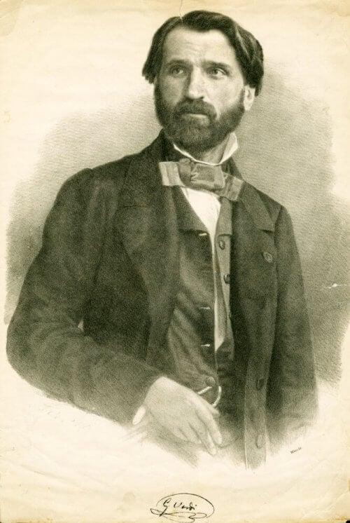 En illustrasjon av en ung Giuseppe Verdi