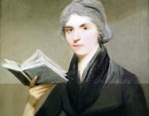 Et portrett som viser Mary Wollstonecraft med en bok i hånden.