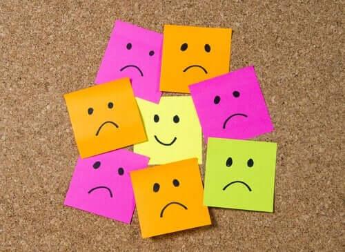 Din indre dialog: Lapper som viser glade og triste ansikter.