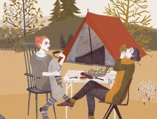 Venner på telttur