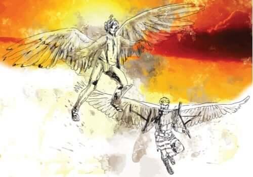 En illustrasjon av Daidalos og hans sønn Ikaros som flyr.