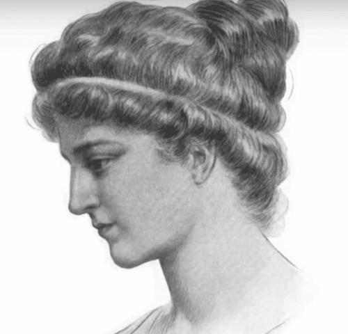 En tegning av Hypatia av Alexandria.