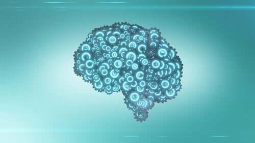 Hjernen bygd av blå tannhjul
