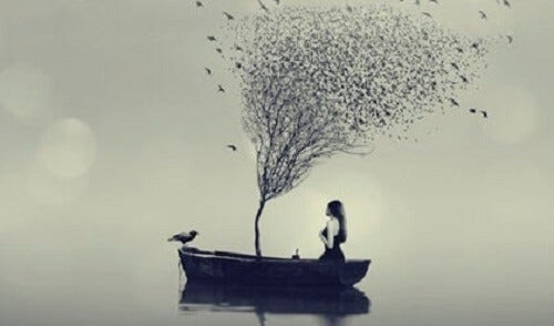 Tre og kvinne i en båt.