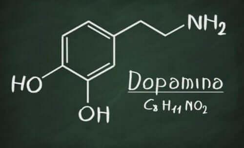 Den kjemiske strukturen til dopamin.