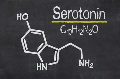 Den kjemiske strukturen til serotonin.