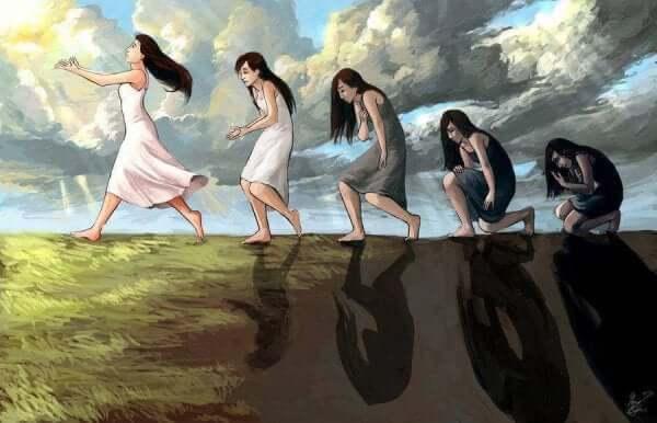 Flere damer følger en vei.